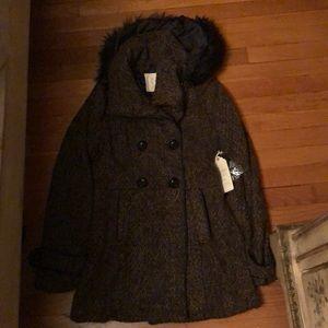 Brown tweed jacket with fur hood